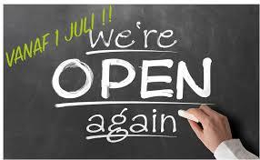 Open vanaf 1 juli!